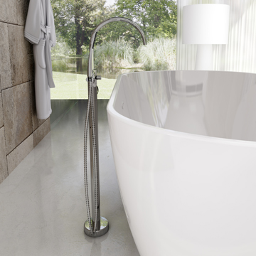 Floor mounted bath water taps