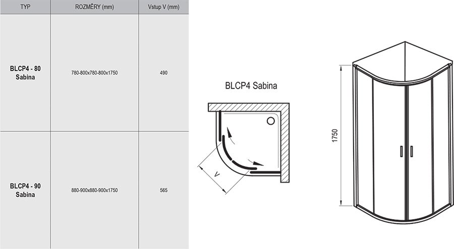 Blix BLCP4 Sabina quadrant short sliding shower enclosure