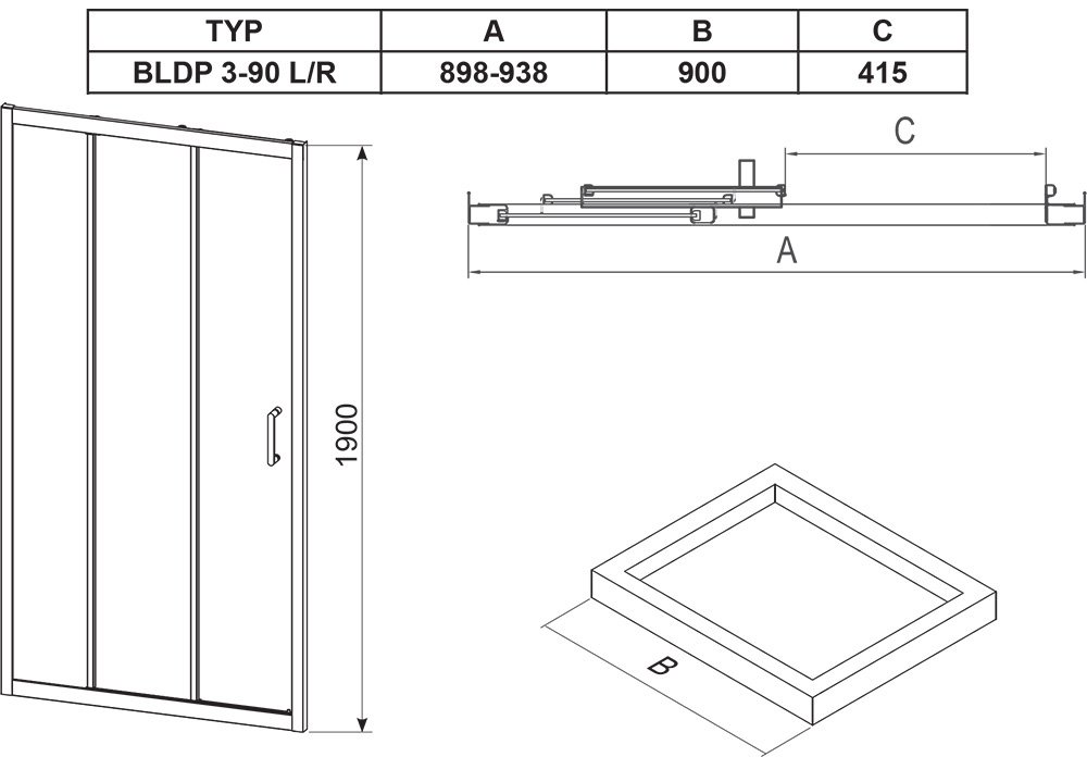 Blix BLDP3 Shower Door