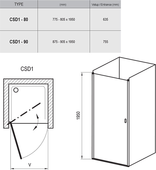 Chrome CSD1 Shower Door