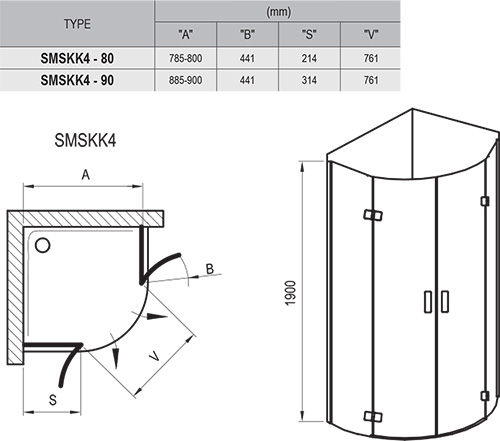 Shower enclosure SmartLine SMSKK4